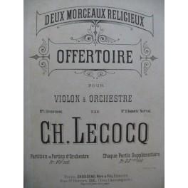 LECOCQ Charles Offertoire Dédicace Violon Orchestre ca1885