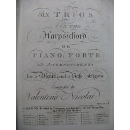NICOLAI Valentino Six Sonatas Trios Violon XVIIIe
