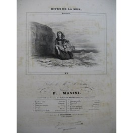 MASINI F. Rives de la Mer Romance Chant Piano ca1830
