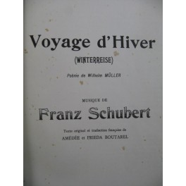 SCHUBERT Franz Voyage d'Hiver Chant Piano 1922