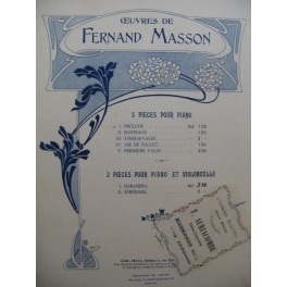 MASSON Fernand Prélude Piano 1903