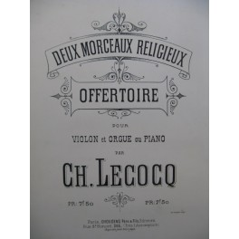 LECOCQ Charles Offertoire Violon Piano ou Orgue ca1885