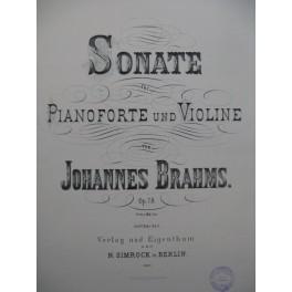 BRAHMS Johannes Sonate op 78 Violon Piano 1880