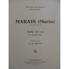 MARAIS Marin Suite en La Violoncelle Piano 1922