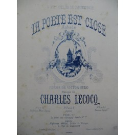LECOCQ Charles Ta Porte est close Aubade Chant Piano ca1877
