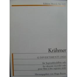 KRÄHMER Ernest 12 Divertimenti Flûte à bec Recorder