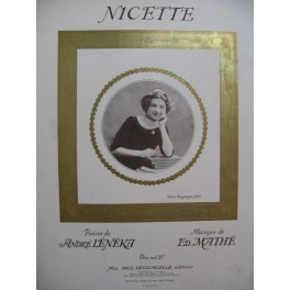 MATHÉ Edouard Nicette Chant Piano 1911