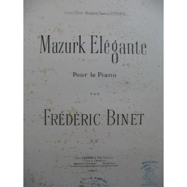 BINET Frédéric Mazurk Elégante Piano