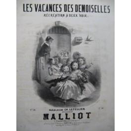 MALLIOT Les Vacances des Demoiselles Chant Piano ca1850