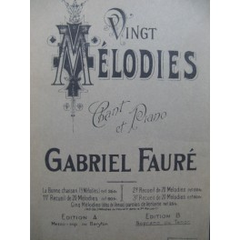 FAURÉ Gabriel 20 Mélodies vol 3 Chant Piano 1943
