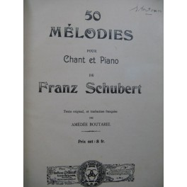 SCHUBERT Franz 50 Mélodies Chant Piano 1911