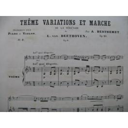 BEETHOVEN Thême Variations et Marche de la Sérénade Piano Flûte XIXe