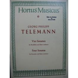 TELEMANN G. P. Vier Sonaten Flûte à bec Basse continue
