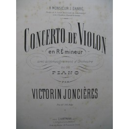 JONCIÈRES Victorin Concerto de Violon Ré min Violon Piano 1869