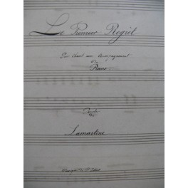 JOLIVET P. Le Premier Regret Manuscrit Chant Piano 1861