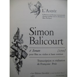 BALICOURT Simon Sonate No 2 Piano Flûte ou Violon 1967