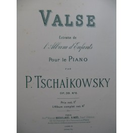 TSCHAÏKOWSKY P. Valse Piano