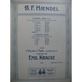 HAENDEL G. F. Sonate a Tre No 9 pour 2 Violons et Piano ou Violoncelle