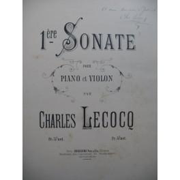 LECOCQ Charles 1ère Sonate Dédicace Piano Violon ca1888
