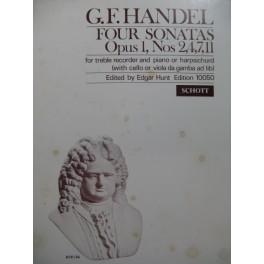HAENDEL G. F. Four Sonatas Flûte à bec Piano