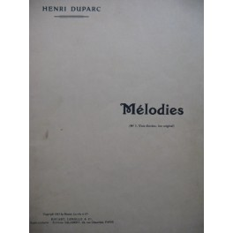 DUPARC Henri Mélodies Chant Piano 1952