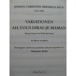 BACH Johann Christoph Friedrich Ah, vous dirai-je Maman Piano 1966