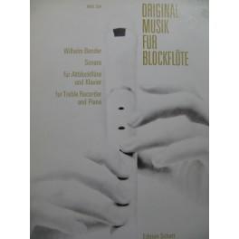BENDER Wilhelm Sonate Piano Flûte à bec