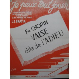CHOPIN Fr. Valse dite de l'Adieu Piano 1949