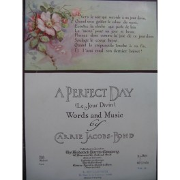 JACOBS-BOND Carrie A Perfect Day Chant Piano 1913