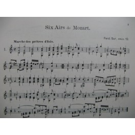 SOR Ferdinand Six Airs de Mozart Guitare