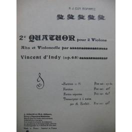 D'INDY Vincent Quatuor No 2 Violon Alto Violoncelle 1898