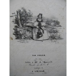 GRISAR Albert La Folle Chant Guitare ca1830