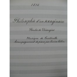 TOURTERELLE Philosophie d'un Sexagénaire Manuscrit Chant Piano 1917