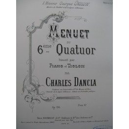 DANCLA Charles Menuet du 6e Quatuor Violon Piano 1887