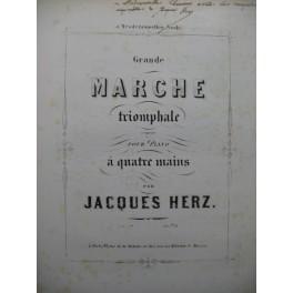 HERZ Jacques Grande Marche Triomphale Dédicace Piano 4 mains XIXe