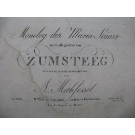 ZUMSTEEG Johann Rudolf Maria Stuart Monolog Chant Guitare ca1799
