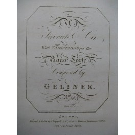 GELINEK Joseph Favorite Air with Variations Piano ca1815