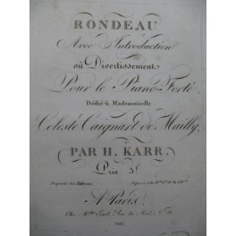 KARR Henry Rondeau avec Introduction Piano ca1830