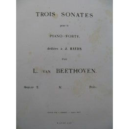 BEETHOVEN Sonate op 2 No 1 Piano 1863