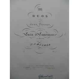 BOCHSA N. Ch. Duo Lucia di Lamermoor Donizetti 2 Pianos 4 mains ca1845