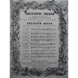 DAVID Félicien Christophe Colomb No 9 bis Chant Piano ca1860