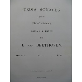 BEETHOVEN Sonate op 2 No 2 Piano 1863