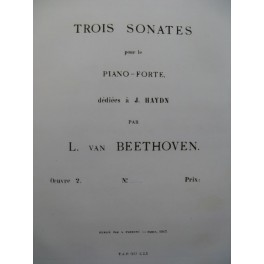 BEETHOVEN Sonate op 2 No 3 Piano 1863
