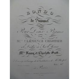 HUMMEL J. N. Rondo 2 Pianos 4 mains ca1834