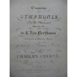 BEETHOVEN Symphonie No 5 op 67 Ch. Czerny Piano 4 mains 1830