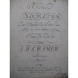 CRAMER J. B. Trois Sonates op 4 Clavecin ou Piano ca1785