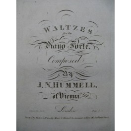 HUMELL J. N. Waltzes Piano ca1830