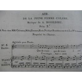 BOIELDIEU Adrien La Jeune Femme Colère No 6 Air Chant Piano ou Harpe 1805