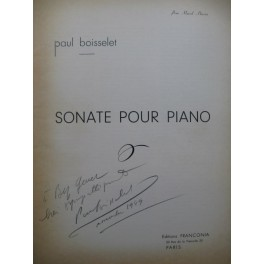 BOISSELET Paul Sonate Dédicace Piano 1948