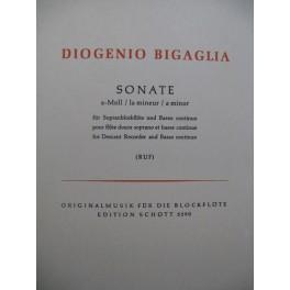 BIGAGLIA Diogenio Sonate A Moll Flûte à bec Basse continue